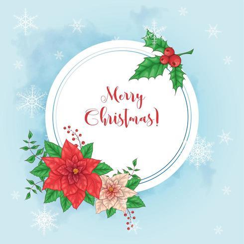 Linda tarjeta de navidad con flor de pascua vector