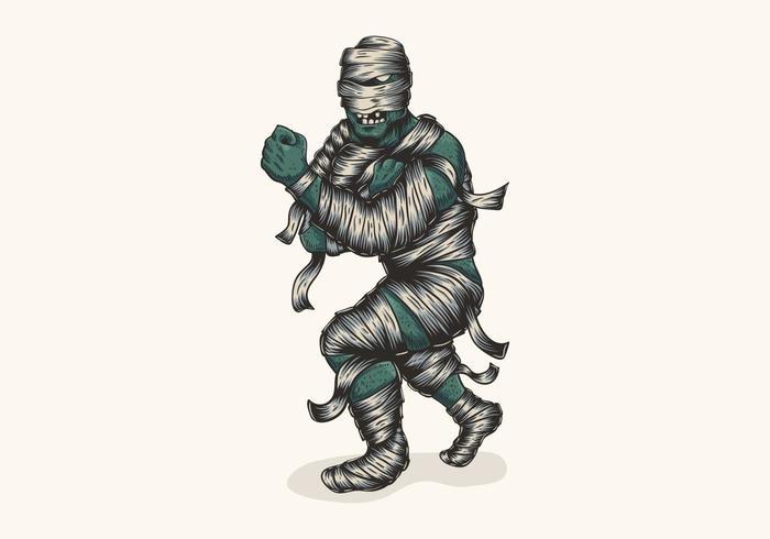 zombie mummy fighter illustration