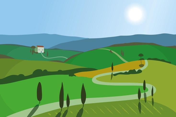 Paesaggio con montagne e colline. Toscana, sfondo di attività ricreative all'aperto. vettore