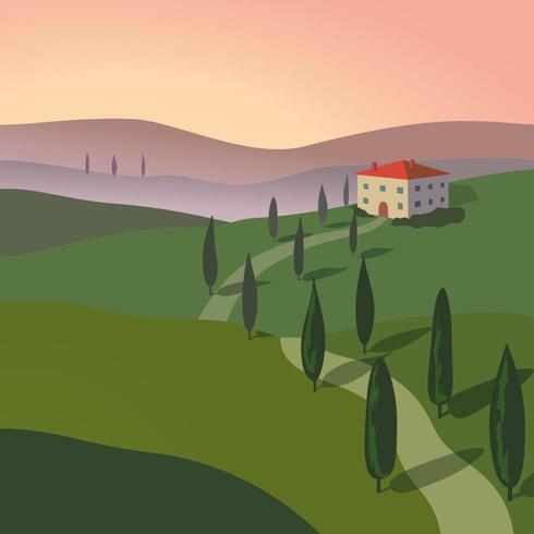 Paisagem com montanhas e colinas. Toscana, fundo de recreação ao ar livre. vetor