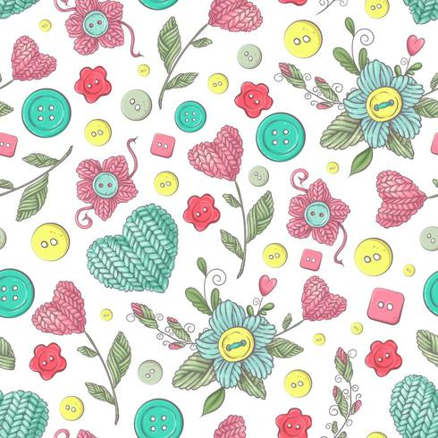 Flores de malha artesanais sem costura padrão