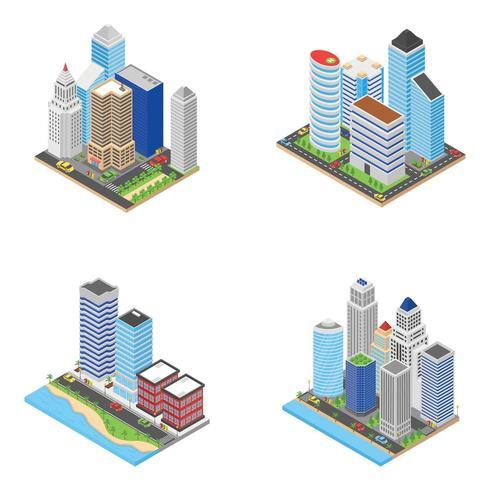 Skyscrapers Isometric Icons  vector