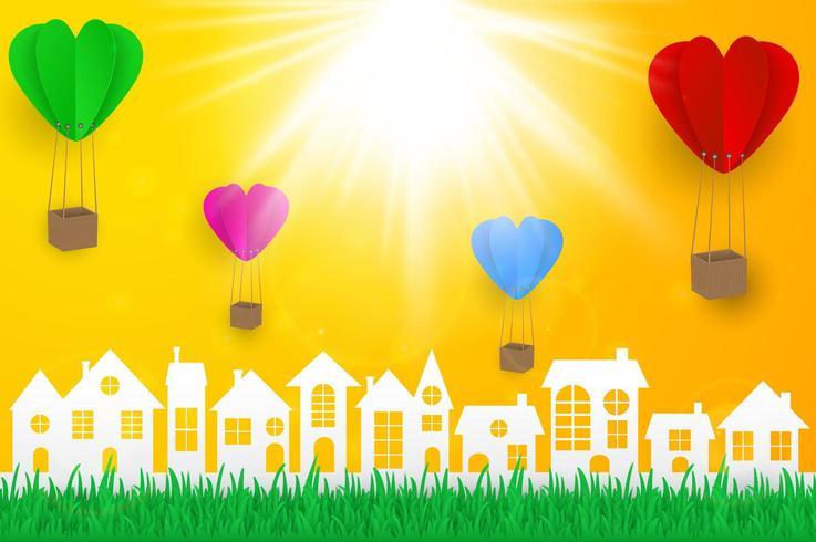 Paisagem urbana de estilo de papel com balões de coração