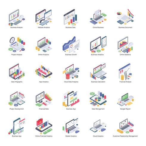 Pacote de análise de negócios de ícones isométricos