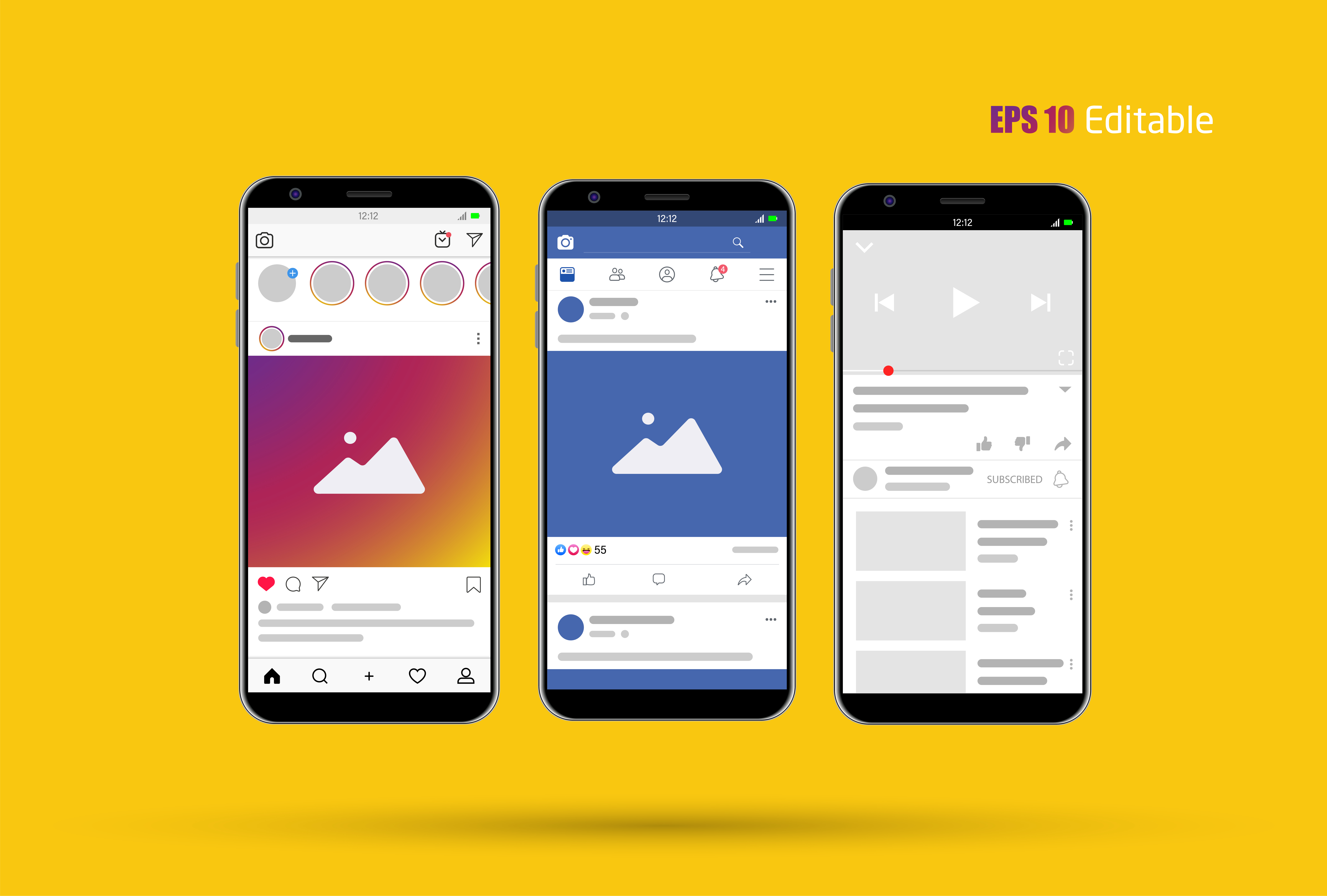 Modern Social Media New Feed Post And Home Page Mockup