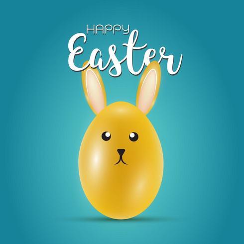 Ostern Grußkarte mit gelben Eiern und Hasenohren