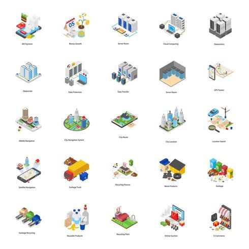 Factories Isometric Icons