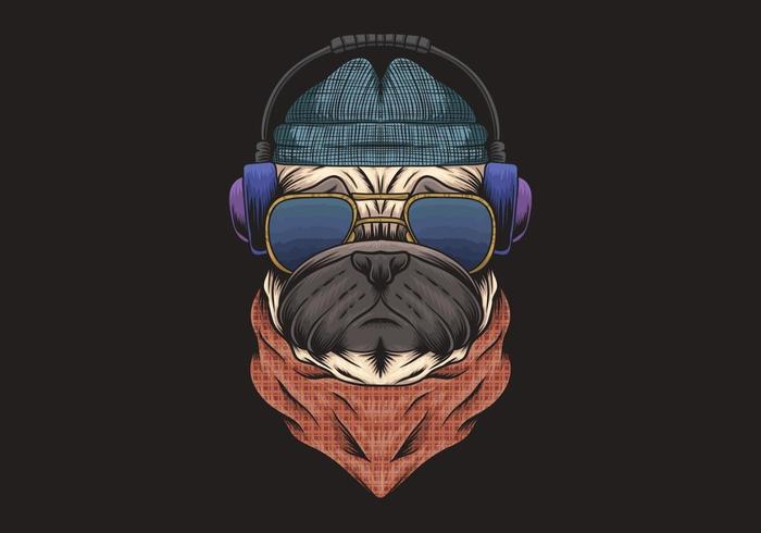 Perro pug con auriculares ilustración