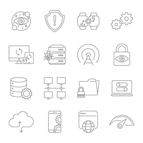 Conjunto de ícones modernos de linha fina de tecnologia digital