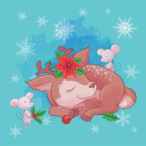 Linda tarjeta de Navidad con ciervos de dibujos animados vector