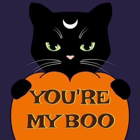 Halloween-Karte mit schwarzer Katze und geschnitztem Kürbis. Vektor-illustration