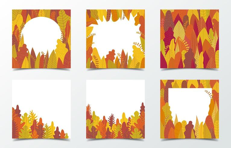 Set of autumn leaf frames