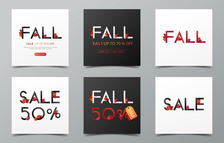 Set of fall sale banners