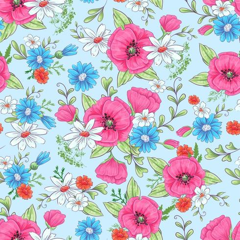 Red poppies and daisies seamless pattern
