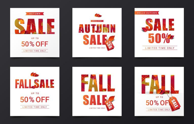 Set of fall sale square banners