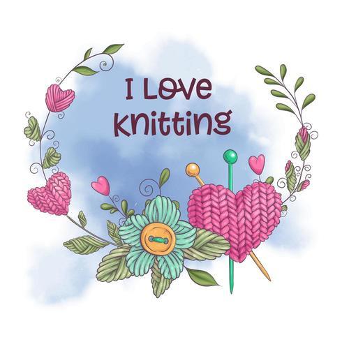 Adoro il design a maglia vettore