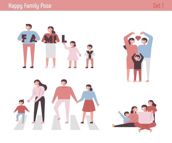 Happy family character set.