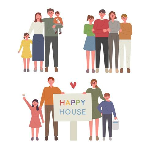 Set di caratteri di famiglia felice. vettore