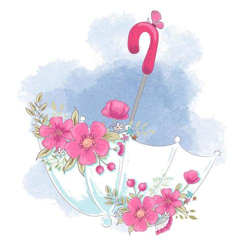 Netter Karikaturregenschirm mit Blumen