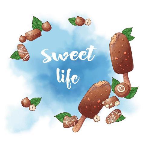 Eiscreme-Nussschokoladen-Logohintergrund