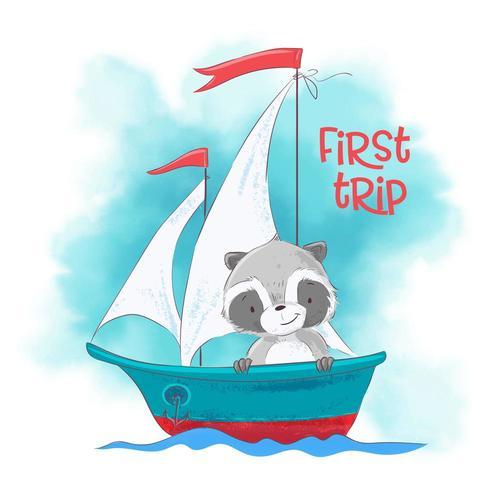 Netter Karikaturwaschbär auf einem Segelschiff