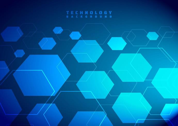 Tecnologia esagono sfondo blu
