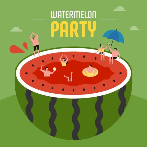 Small people at summer party swimming in a giant watermelon.