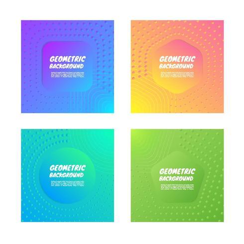 Uppsättning av geometriska färgglada bakgrund vektor