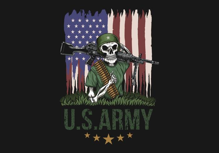 Maschinengewehr-Schädel-amerikanische Armeeillustration
