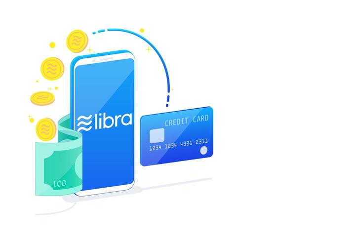 Isometric of libra digital currency on white background