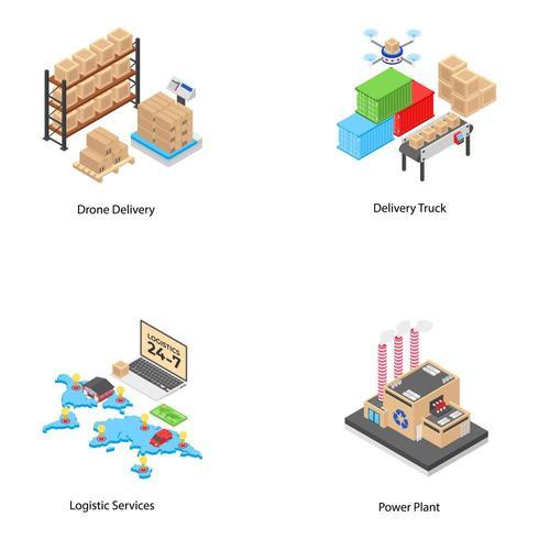 Icônes de logistique et d'expédition vecteur