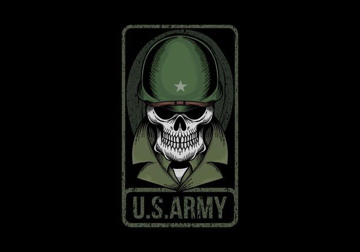 Illustrazione dell'esercito americano del cranio vettore