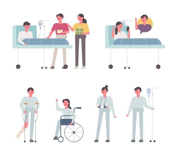 Olika patienter på sjukhus. vektor