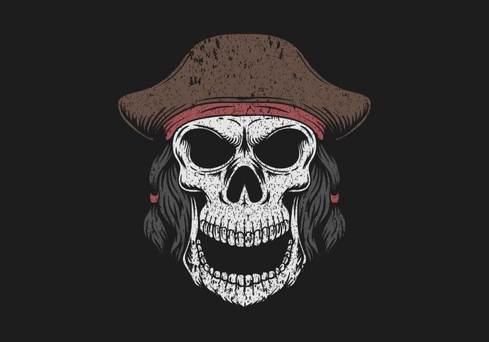 crâne portant illustration de chapeau de pirate