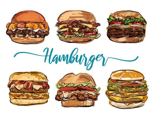Hamburger hand drawn set