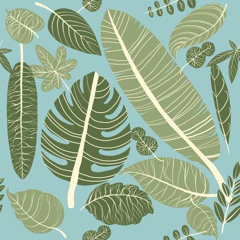 Seamless pattern tropical leaves
