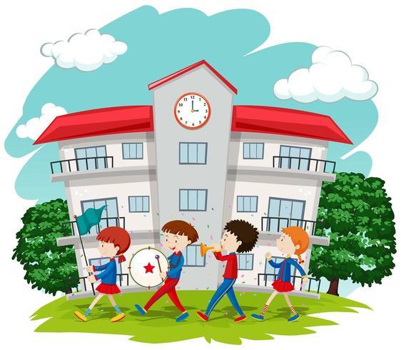 Crianças na banda escolar na escola