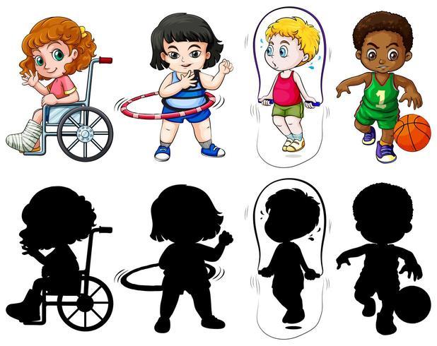 Conjunto de crianças em cores e silhueta