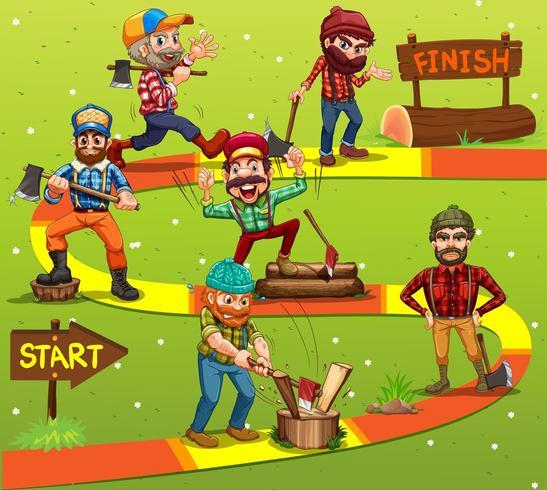 Plantilla de juego con personajes de madera en el fondo