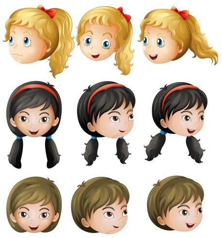 Gesichter des jungen Mädchens