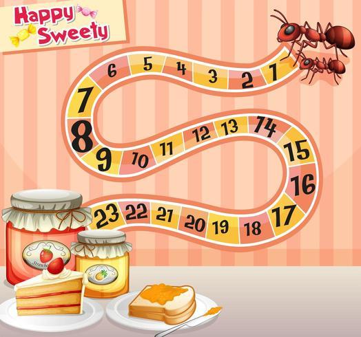 Spielvorlage mit Ameisen und Marmelade