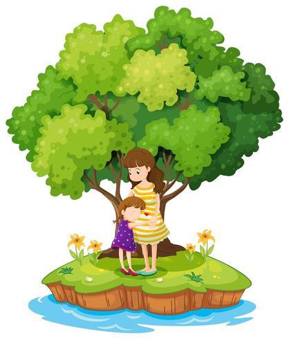 Eine Insel mit einer Mutter und einer Tochter