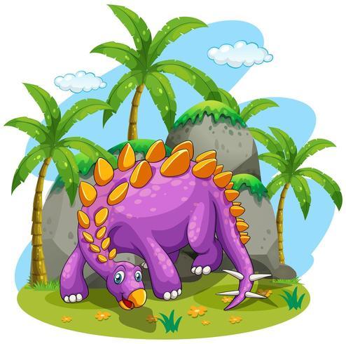 Purpurfärgad dinosaurie som står på jordningen