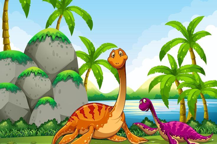 Dinosaur living in the jungle vector