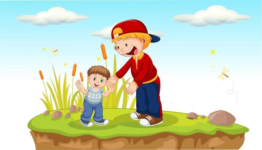 Vater und Sohn im Park