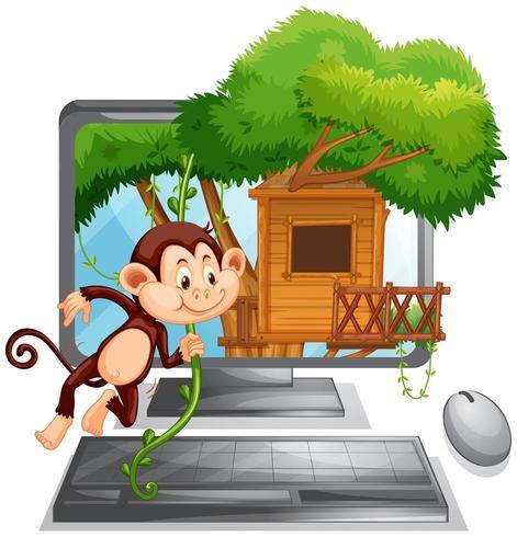 Schermo del computer con la scimmia che gioca alla casa sull'albero