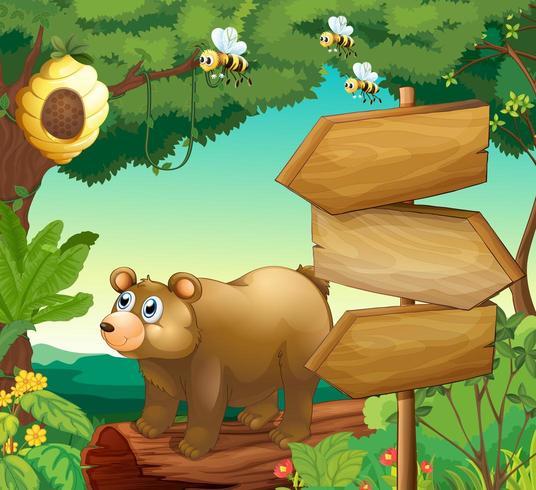 Scen med björnen och träskyltar