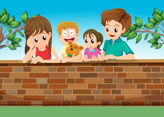Eine Familie im Hinterhof