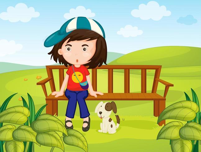 Mädchen und Hund im Park