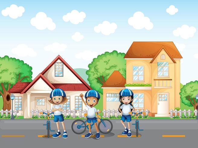 Drei süße Biker auf der Straße